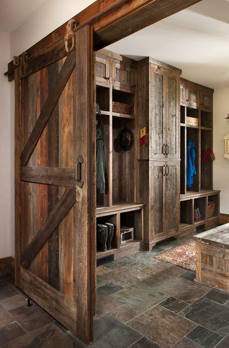Great mudroom seating/cabinets!