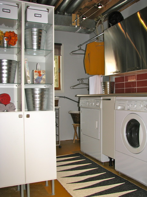 Industrial laundry room decor