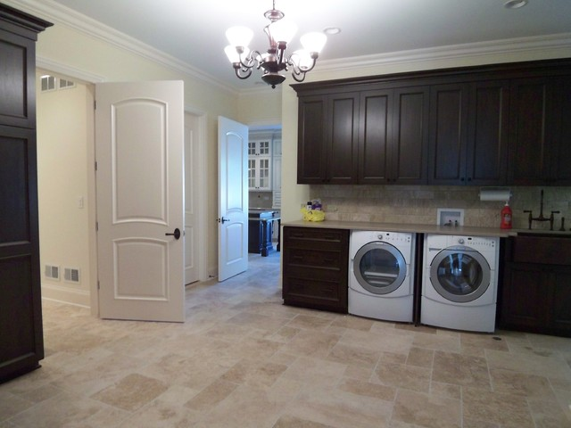Transitional laundry room photo in Denver