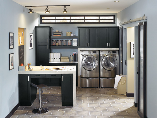 Kitchen Craft Lexington Black Cabinets traditional-laundry-room