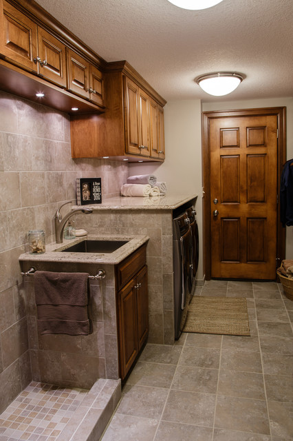 Lake home basement remodel Basement laundry room remodel