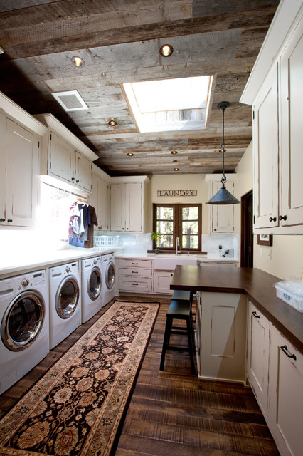 Lake Tahoe Dream Home Rustic Laundry Room San