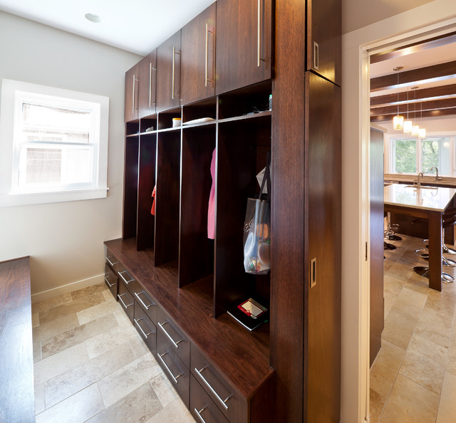 Lake Winnebago Remodel mud room lockers modern laundry room