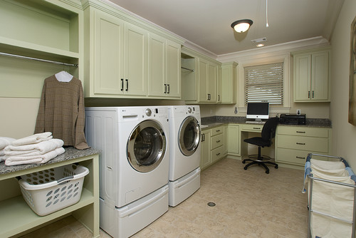 BM Guilford Green for cabinets, in a room with little natural light