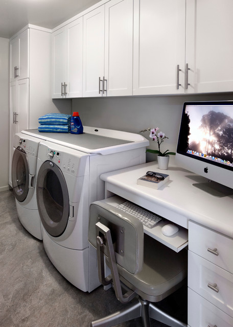 Laundry room home office beach style laundry room for Laundry room office