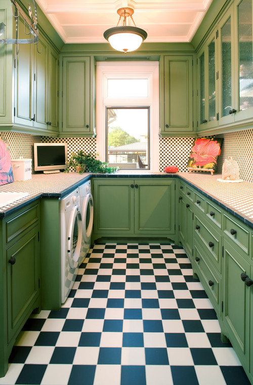 green kitchen - cool tones