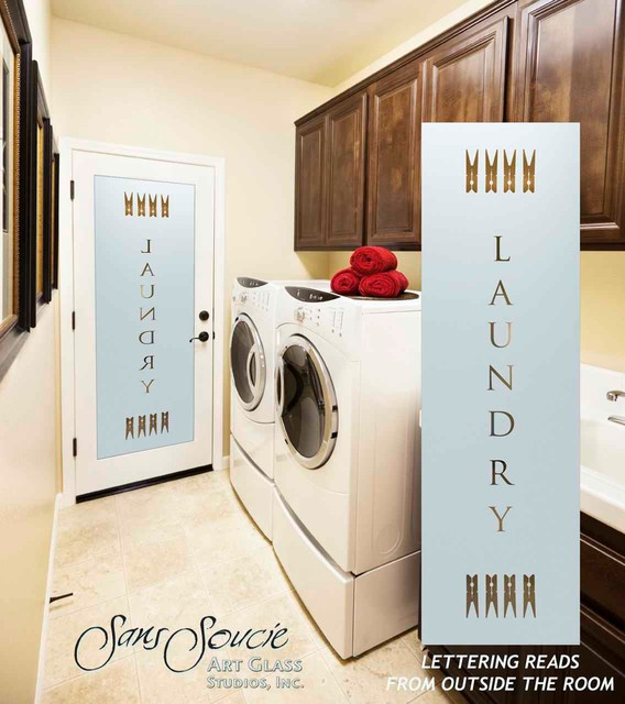 Laundry Room Door - Sandblast Frosted Glass - LAUNDRY PINS - Eclectic ...