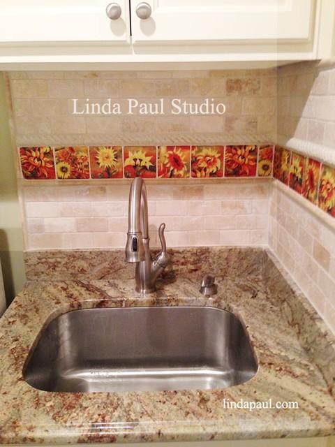Laundry Room Flower Tiles And Backsplash Ideas