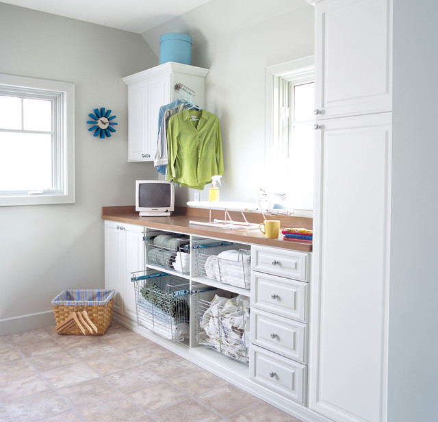 Inspiration For A Mid Sized Contemporary Single Wall Ceramic Floor Utility  Room Remodel In