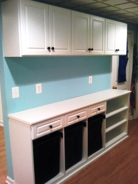 Laundry Room with Hampers & Counter top contemporary-laundry-room