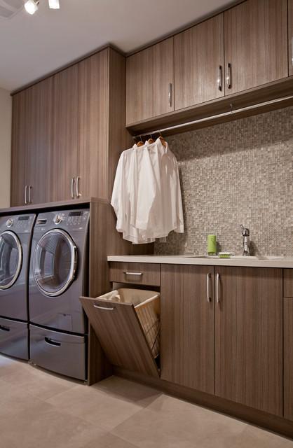 Laundry Room with Laundry Hamper - Contemporary - Laundry Room ...