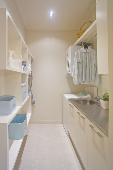 I really like the look of the hanging clothes rod can you Laundry room drying rack ideas