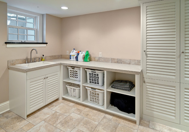 Laundry with Louvered Doors - Traditional - Utility Room ...
