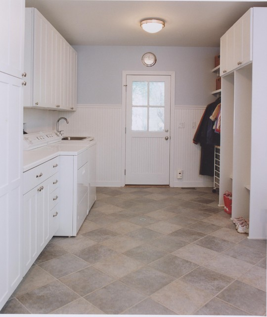 Let the sunshine in the laundry mudroom traditional for Laundry room floor ideas