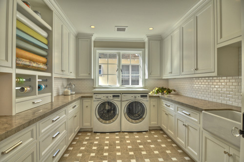 Laundry room: white cabinets, large with open space