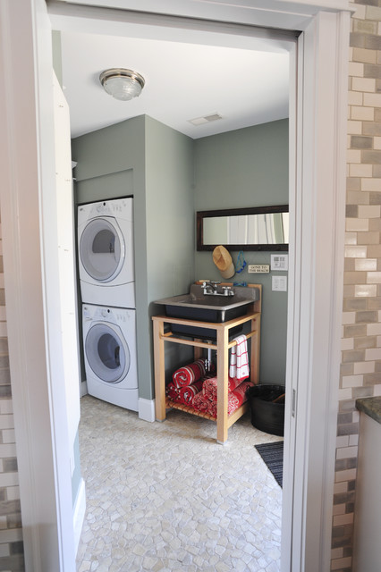 Living at the Shore transitional-laundry-room
