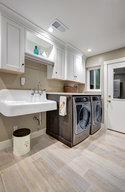 Example Of A Mid Sized Country Porcelain Floor And Beige Floor Laundry Room  Design In
