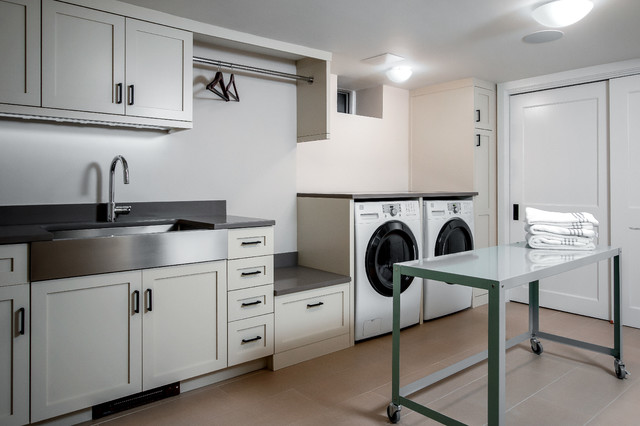 Lux laundry basement remodel transitional laundry Basement laundry room remodel