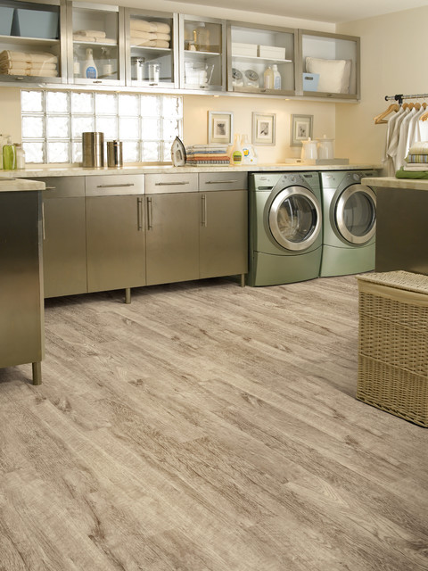 Luxury Vinyl Planks Tropical Laundry Room