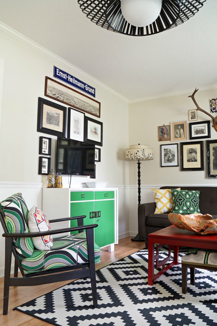 Shelves around tv man cave : Man cave - masculine living room/office eclectic laundry room by ...