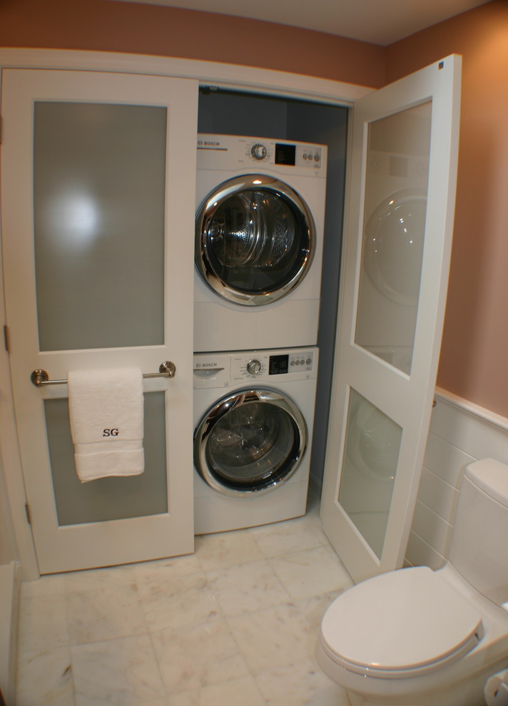 Inspiration for a transitional laundry room remodel in Boston