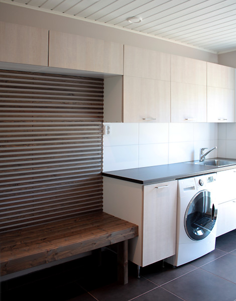 Minimalist interior with earth tones - contemporary - laundry room ...