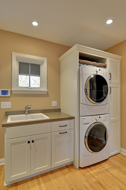 Stacked laundry enclosure for Small utility room