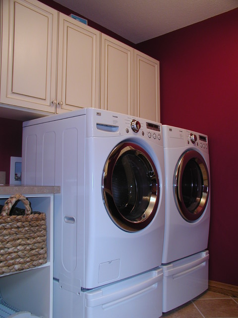 Mixed Paint and Maple traditional-laundry-room