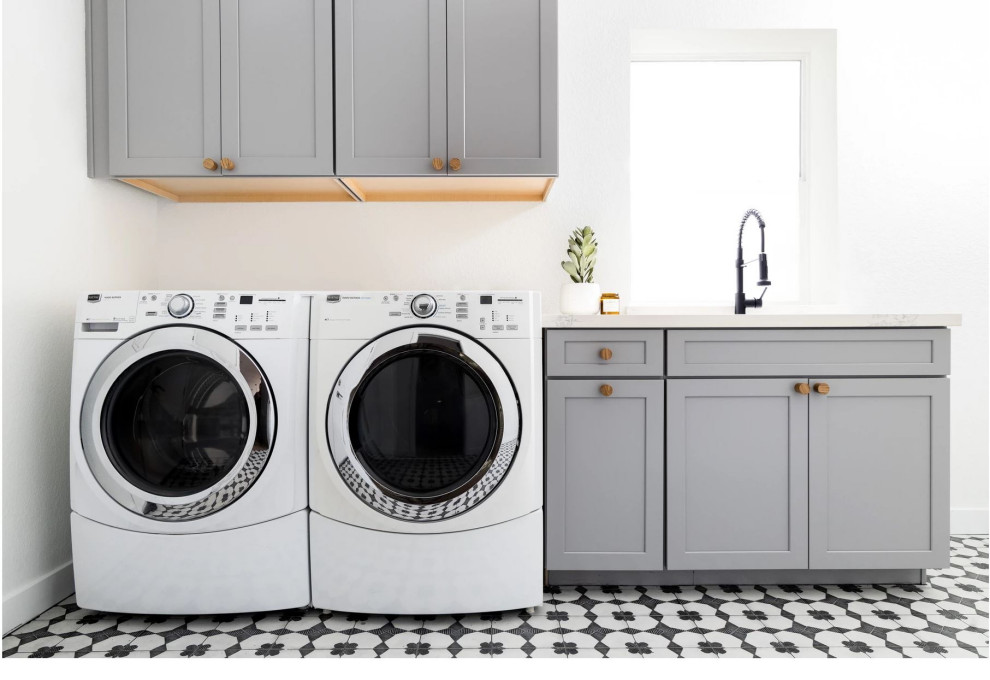 Small transitional single-wall multicolored floor dedicated laundry room photo in Phoenix with an undermount sink, shaker cabinets, gray cabinets, white walls, a side-by-side washer/dryer and white countertops