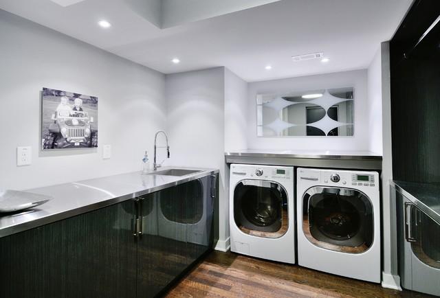 minimalist laundry room designs modern basement stainless steel tub