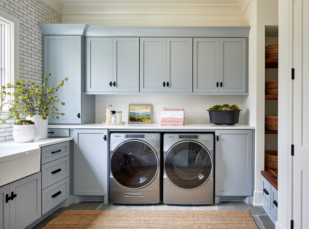 Example of a farmhouse laundry room design in Charlotte