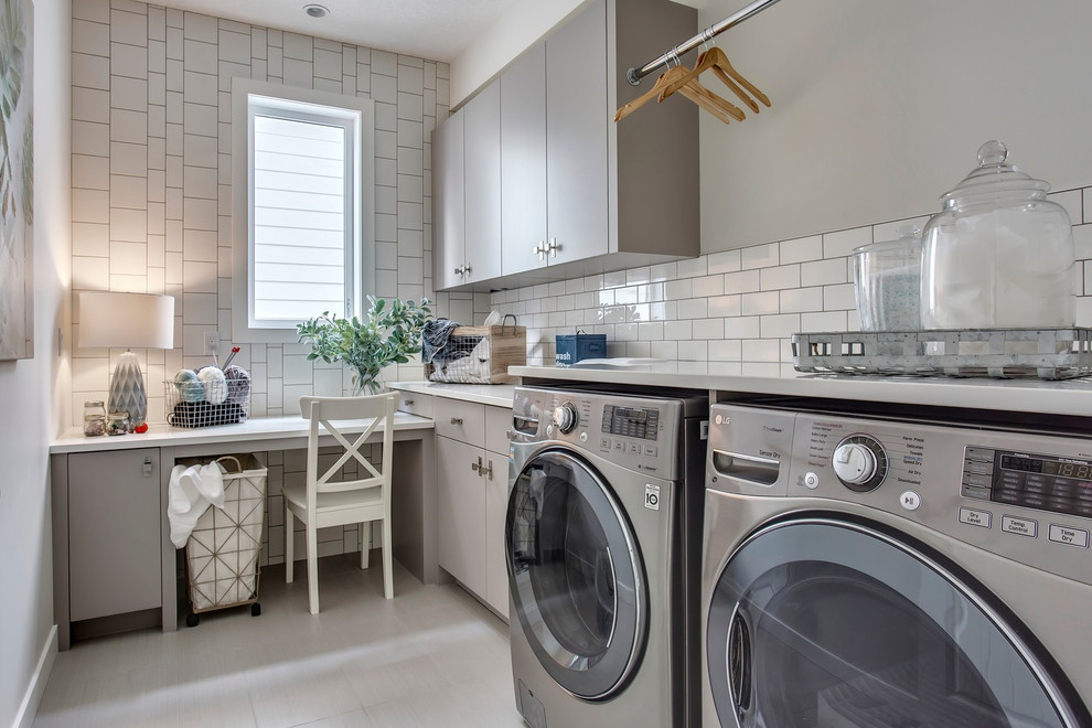 Modern French Country Home In Altadore Farmhouse Laundry Room Calgary By Trickle Creek Designer Homes