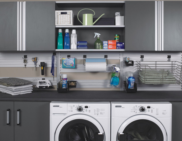 Modern laundry room in garage or utility area