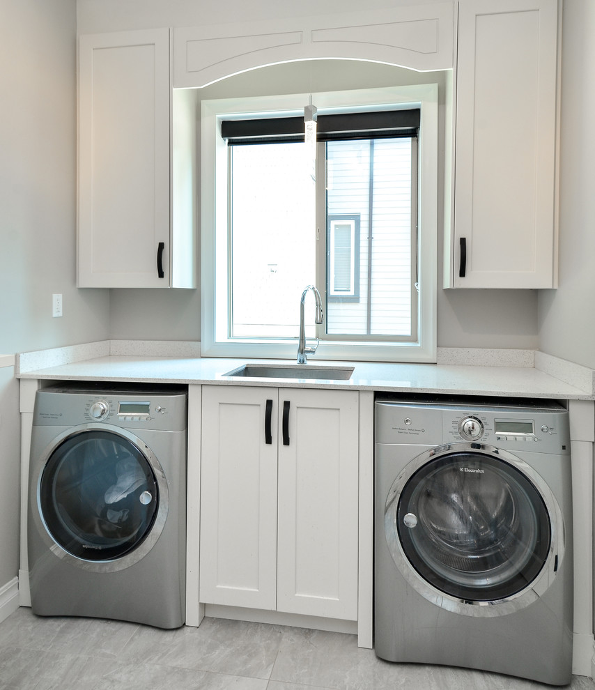 Modern laundry room with shaker style cabinets Vancouver ...