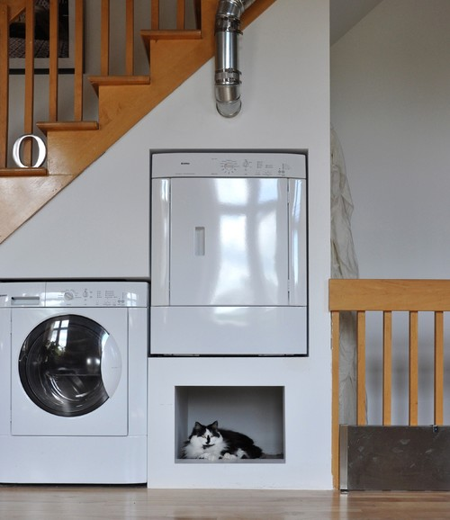Tucked under the stairs is the washer and raised dryer on a platform making room for a cat bed.