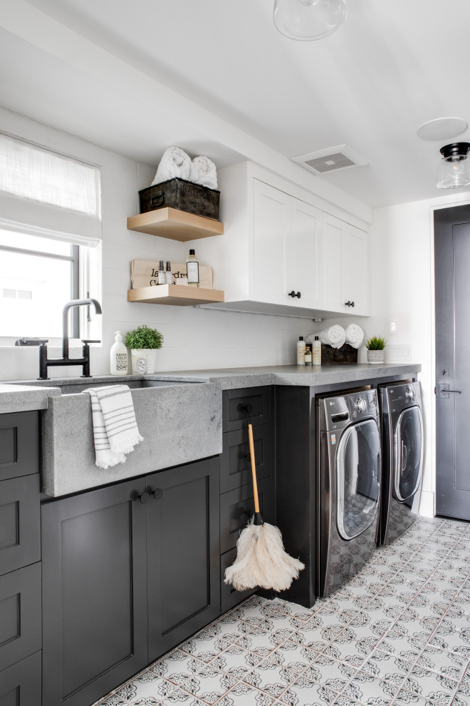 Inspiration for a coastal laundry room remodel in Orange County