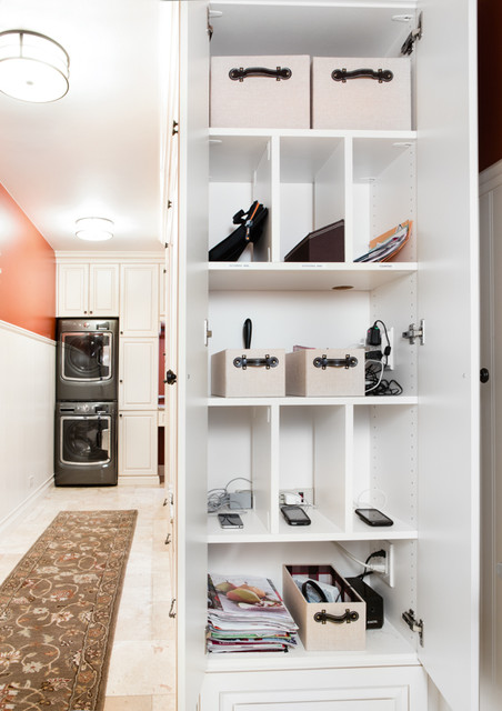 Narrow Laundry Mudroom Maximized Traditional Laundry