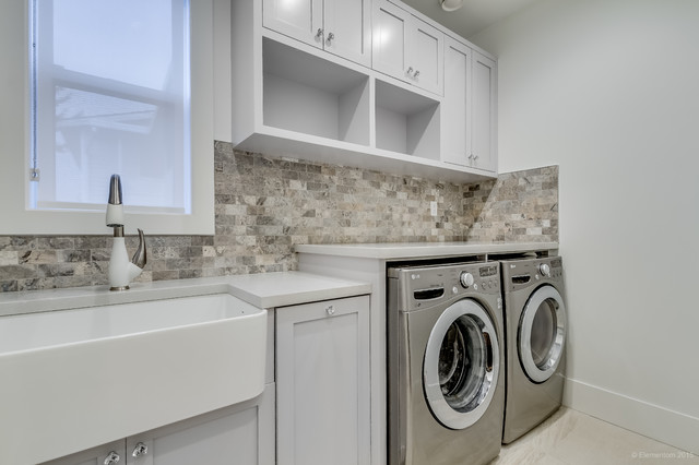 Photo Of A Traditional Utility Room In Vancouver With Belfast Sink Shaker Cabinets