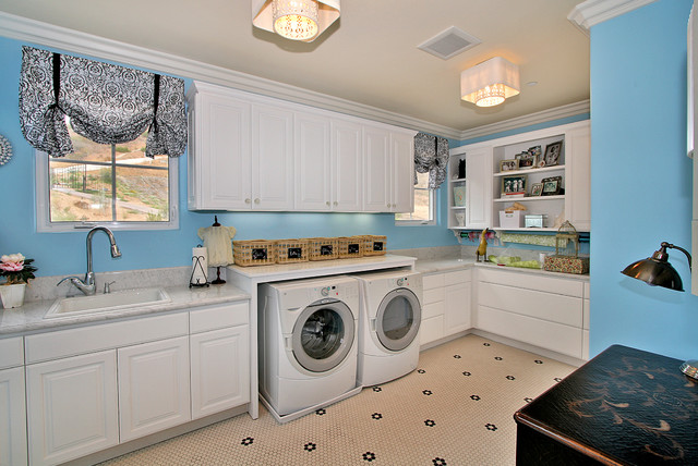 Elegant Laundry Room Photo In San Diego With White Cabinets