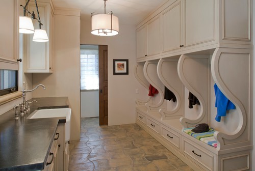 laundry room lighting. This Mudroom Does It All With Help From A Drum Pendant And Linear Island Light! Laundry Room Lighting