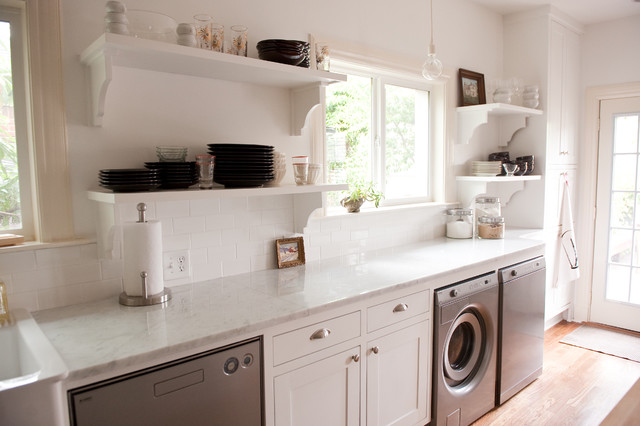 Our Bright White Open Kitchen Traditional Laundry Room