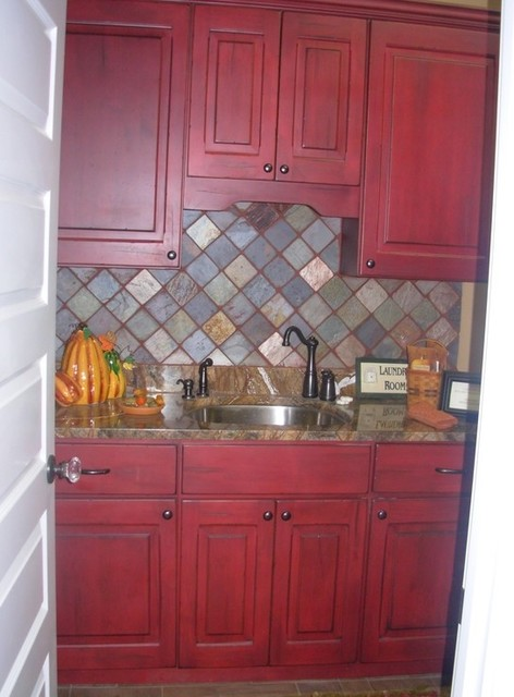 Red Laundry Room Cabinets Traditional