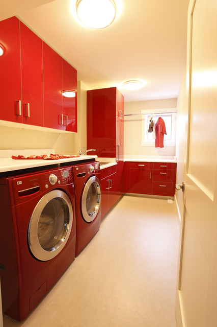 Red Laundry Room Contemporary