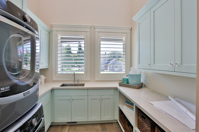 Rideout Residence transitional-laundry-room