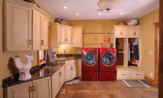 Rustic Log Home Rustic Laundry Room Cleveland By