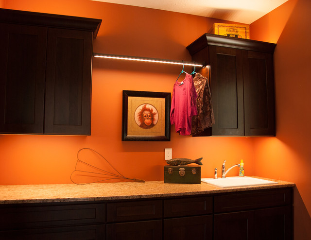 Sempria LED Lighted Closet Rod Traditional Laundry Room
