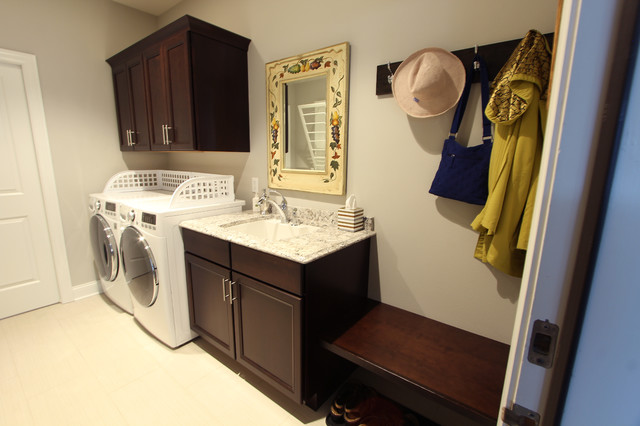 Side By Side Washer Dryer With Utility Sink And Extra Deep Wall
