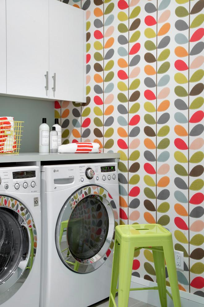 Laundry room - scandinavian laundry room idea in Minneapolis