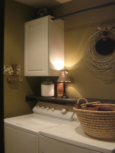Small laundry room for Shelf above washer and dryer