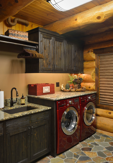 Mountain Style Laundry Room Photo In Minneapolis With An Undermount Sink Beige Walls And A
